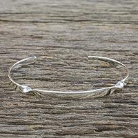 Sterling silver cuff bracelet, 'Subtle Twist' - Sterling Silver Cuff Bracelet with Twist