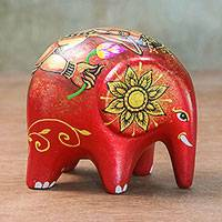Ceramic figurine, 'Ganesha Elephant' - Handmade Ceramic Elephant with Ganesha Motif from Thailand