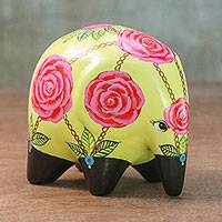 Ceramic figurine, 'Rose Garden Elephant' - Pastel Yellow Ceramic Elephant with Roses from Thailand