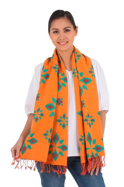 Cotton scarf, 'Radiant Morning' - Orange and Red Cotton Floral Scarf Handmade in Thailand