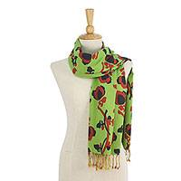 Cotton scarf, 'Radiant Garden' - Green and Orange Cotton Floral Scarf Handmade in Thailand