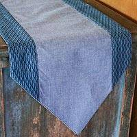 Cotton table runner, 'Contemporary in Azure' - Blue Cotton Table Runner Handmade in Thailand