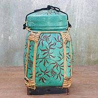 Bamboo and clay decorative jar, 'Tropical Plant in Green' - Decorative Jar in Green from Thailand