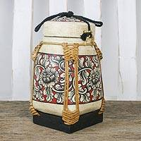 Bamboo and clay decorative jar, 'Mystic Flowers' - Handcrafted Floral Bamboo Decorative Jar from Thailand