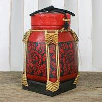 Bamboo and clay decorative jar, 'Mystic Flowers in Red' - Floral Decorative Jar in Red from Thailand