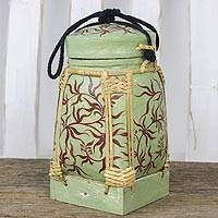 Bamboo and clay decorative jar, 'Willow Forest' - Handcrafted Decorative Jar in Sage from Thailand