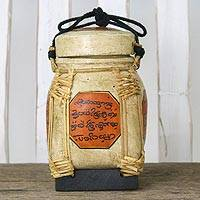 Bamboo and clay decorative jar, 'Charming Lanna' - Handcrafted Cultural Decorative Jar from Thailand