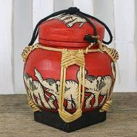 Bamboo and clay decorative jar, 'Sunset Elephant Dance' - Elephant Decorative Jar in Red from Thailand