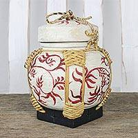Bamboo and clay decorative jar, 'Charming Willow in Red' - Decorative Jar with Red Leaf Motifs from Thailand