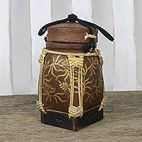 Bamboo and clay decorative jar, 'Golden Willow in Brown' - Leaf Motif Decorative Jar in Brown from Thailand