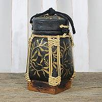 Bamboo and clay decorative jar, 'Golden Willow in Black' - Leaf Motif Decorative Jar in Black from Thailand