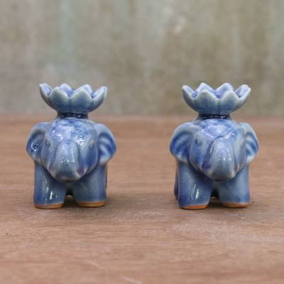 Ceramic incense holders, 'Lotus Elephant in Blue' (pair) - Blue Ceramic Elephant with Lotus Incense Holders (Pair)