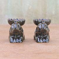 Ceramic incense holders, 'Resting Elephant' (pair) - Brown Ceramic Elephant Incense Holders (Pair)