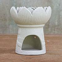 Ceramic oil warmer, 'Fragrant Lotus in White' - Ceramic Natural White Lotus Flower Oil Warmer