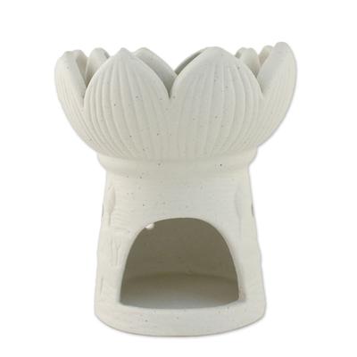 Ceramic Natural White Lotus Flower Oil Warmer