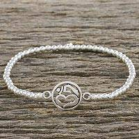 Sterling silver beaded stretch bracelet, 'Believe Om' - Handmade 925 Sterling Silver Beaded Elastic Stretch Bracelet
