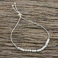 Sterling silver beaded bracelet, 'Morse Code Love' - Handmade 925 Sterling Silver Morse Code Love Chain Bracelet