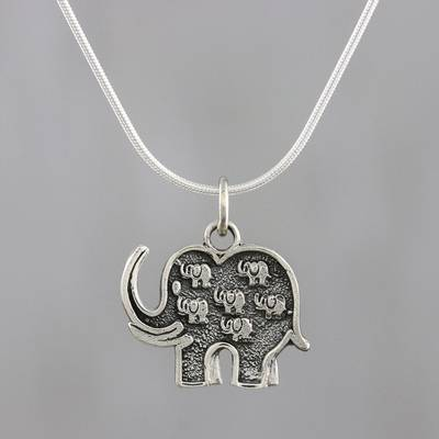 Sterling silver pendant necklace, 'Parade of Elephants' - Handmade 925 Sterling Silver Elephants Pendant Necklace