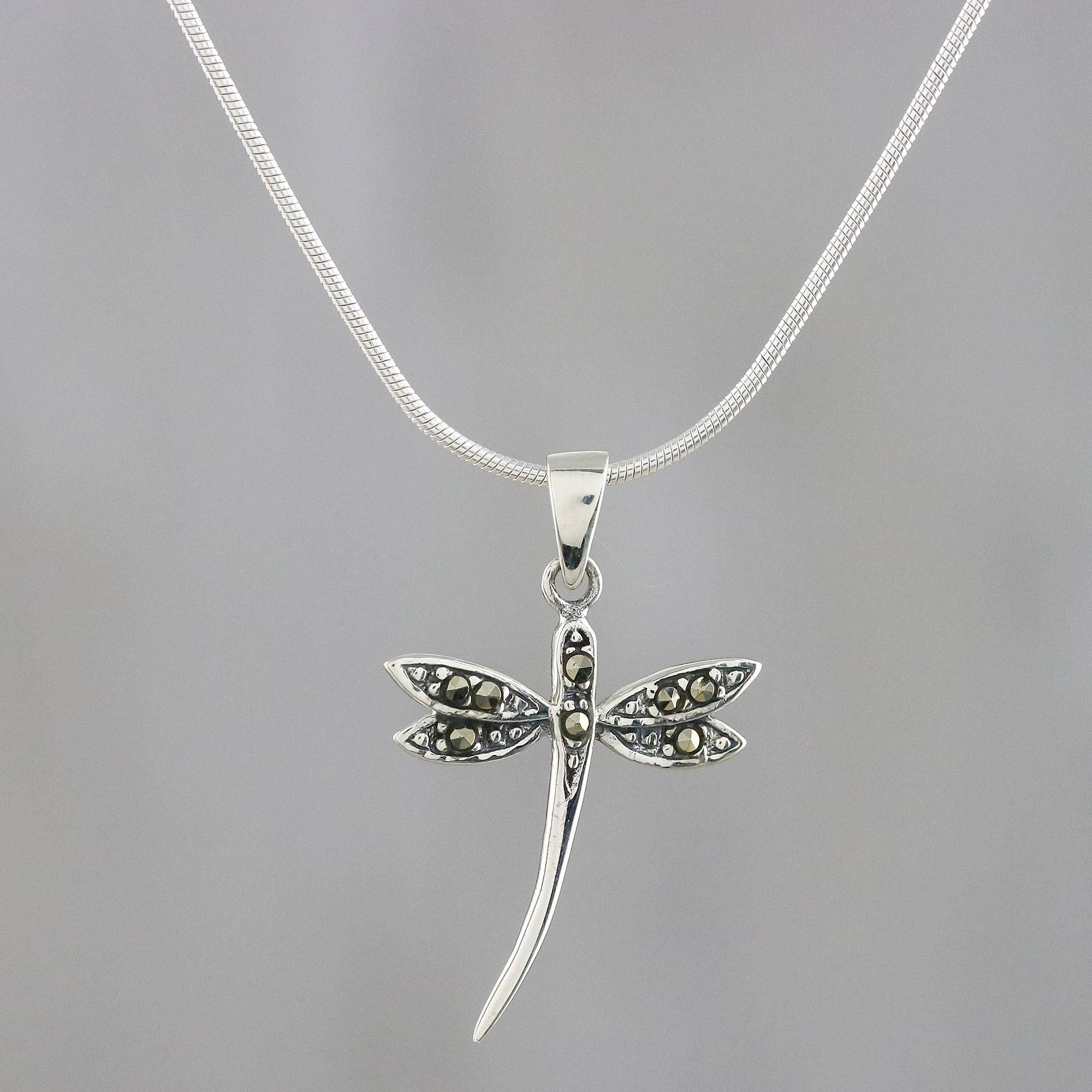 diamond and pendant dragonfly silver product iolite necklace sterling amethyst
