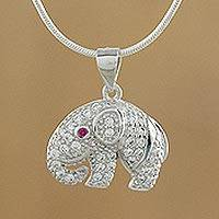 Sterling silver pendant necklace, 'Elephant Sparkle' - Handmade Cubic Zirconia 925 Sterling Silver Necklace