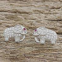 Sterling silver stud earrings, 'Elephant Sparkle' - Cubic Zirconia 925 Sterling Silver Handmade Earrings