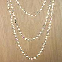 Gold plated multi-gemstone link necklace, 'Enticing Glow' - Cultured Pearl Multi-Gem Link Necklace from Thailand