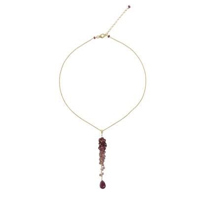 Gold Plated Ruby and Tourmaline Necklace from Thailand