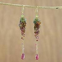 Gold accented tourmaline dangle earrings, 'Grape Vine' - Gold Plated Tourmaline Dangle Earrings from Thailand