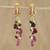 Gold plated multi-gemstone dangle earrings, 'Glittering Beetles' - Gold Plated Multi-Gem Beetle Earrings from Thailand thumbail