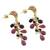 Gold plated multi-gemstone dangle earrings, 'Glittering Beetles' - Gold Plated Multi-Gem Beetle Earrings from Thailand (image 2c) thumbail