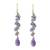 Gold accented amethyst and tanzanite dangle earrings, 'Lilac Wind' - Gold Plated Amethyst and Tanzanite Earrings from Thailand (image 2a) thumbail