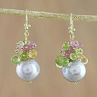 Gold plated multi-gemstone dangle earrings, 'Summer at Sea' - Gold Plated Cultured Pearl Multi-Gem Earrings from Thailand