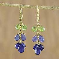 Gold plated multi-gemstone dangle earrings, 'Charming Nature' - Gold Plated Blue and Green Multi-Gem Earrings from Thailand