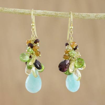 Novica Multi-gemstone dangle earrings, Starlit Sky