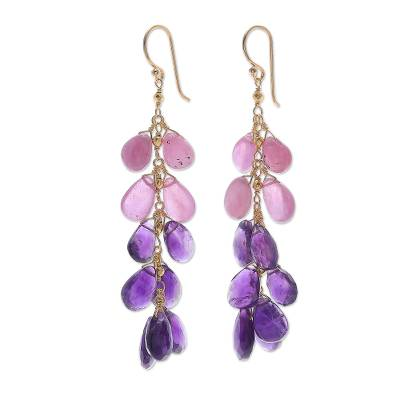 Gold Plated Amethyst and Ruby Earrings from Thailand