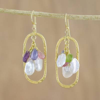 Gold plated multi-gemstone dangle earrings, 'Elliptic Color' - Oval Gold Plated Multi-Gem Dangle Earrings from Thailand