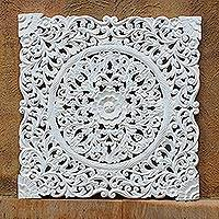 Wood relief panel, 'Tropical Flower' - Hand-Carved Floral Acacia Wood Relief Panel from Thailand