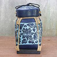 Bamboo and clay decorative jar, 'Flower Blooming' - Blue Floral Bamboo Decorative Jar from Thailand