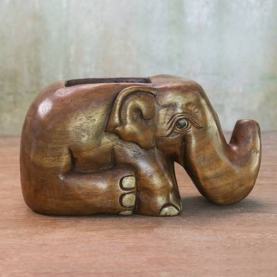 Wood card holder, 'Elephant Sits Down' - Hand Carved Raintree Wood Elephant Card Holder Thailand
