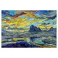 'Sunset at Pak Meng Beach' - Signed Impressionist Painting of a Beach from Thailand