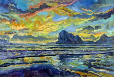 Signed Impressionist Painting of a Beach from Thailand, 'Sunset at Pak Meng  Beach'