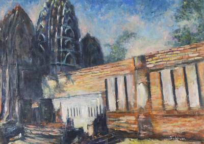 'Wat Si Sawai II' - Signed Impressionist Painting of a Temple from Thailand