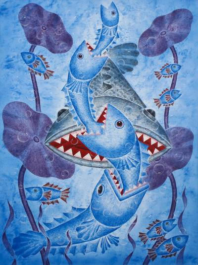 Fish Themed Expressionist Acrylic on Canvas Painting