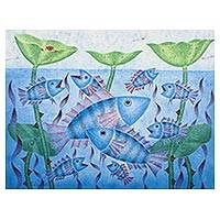 'Fish School in Lotus Pond' (2016) - Acrylic Painting of Fish in a Lotus Pond from Thailand