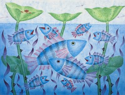 Acrylic Painting of Fish in a Lotus Pond from Thailand