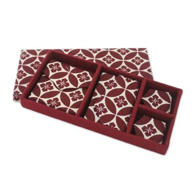 Red Floral Cotton Print Handcrafted Gift Set (4 pieces)