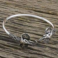 Sterling silver cuff bracelet, 'Triumphant Elephant' - Sterling Silver Elephant Cuff Bracelet Handmade in Thailand