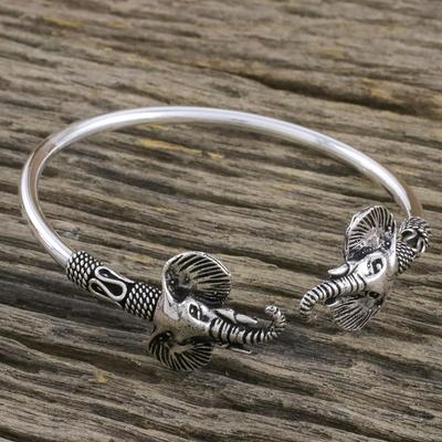 21f9010dc UNICEF Market | Sterling Silver Elephant Cuff Bracelet Handmade in Thailand  - Triumphant Elephant