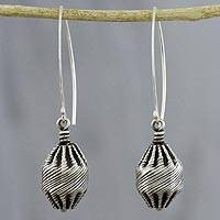 Sterling silver dangle earrings, 'Lantern of Guidance' - Sterling Silver Dangle Earrings Hand Crafted in Thailand