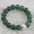 Jade beaded stretch bracelet, 'Grand Viridian' - Dyed Green Chalcedony Hammered 950 Silver Beaded Bracelet thumbail